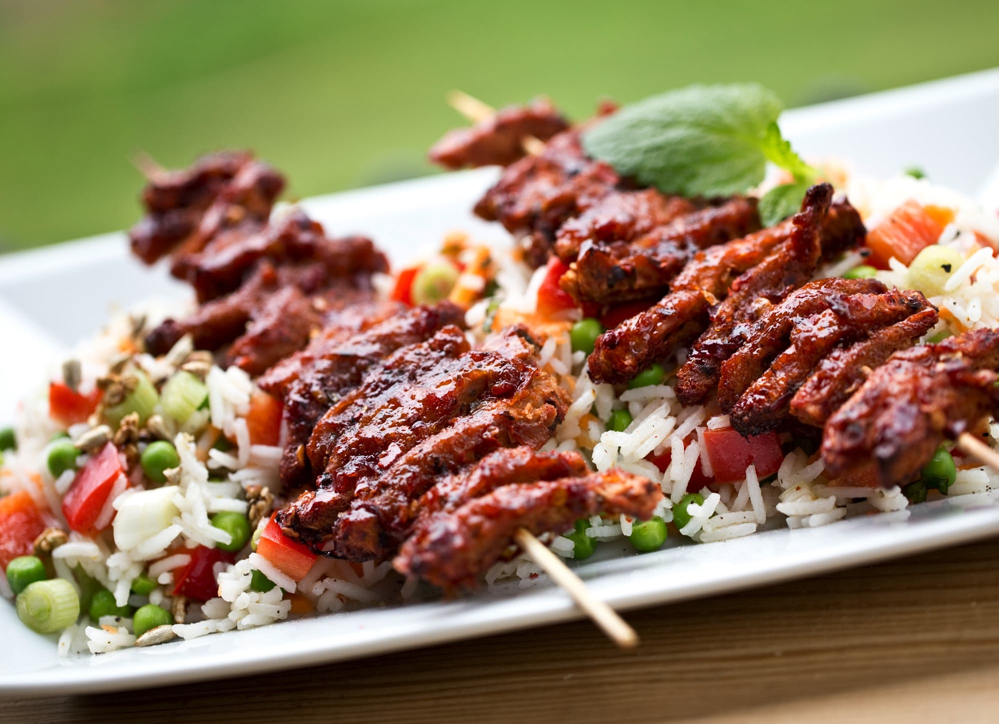 BBQ Skewers With Rice Salad