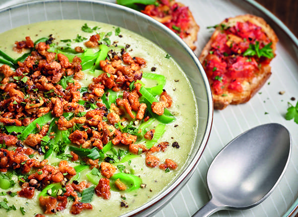 Creamy Leek Soup with vegan mince and bruschetta