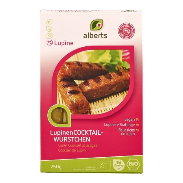 Alberts LUPINE COCKTAIL SAUSAGES, organic, 250g