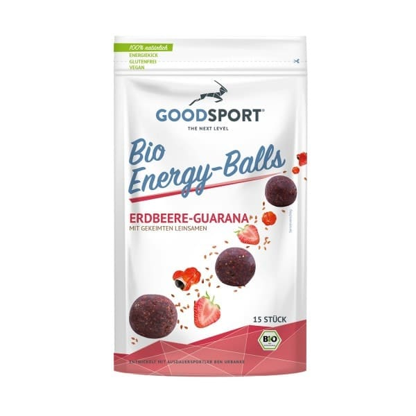 Goodsport ENERGYBALLS strawberry-guarana, organic, 105g