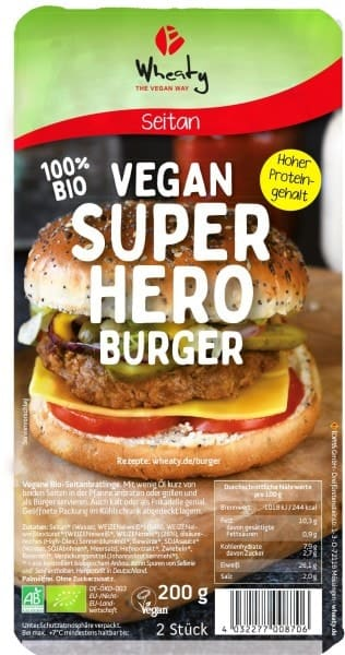 Wheaty VEGAN SUPERHERO BURGER, organic, 200g