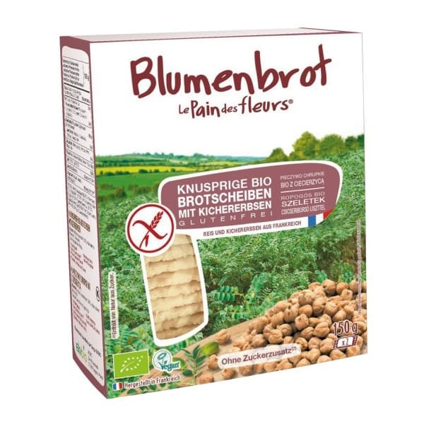 "Le Pain des fleurs BLUMENBROT ""flowerbread"" crispy bread slices with chick peas, organic, 150g"