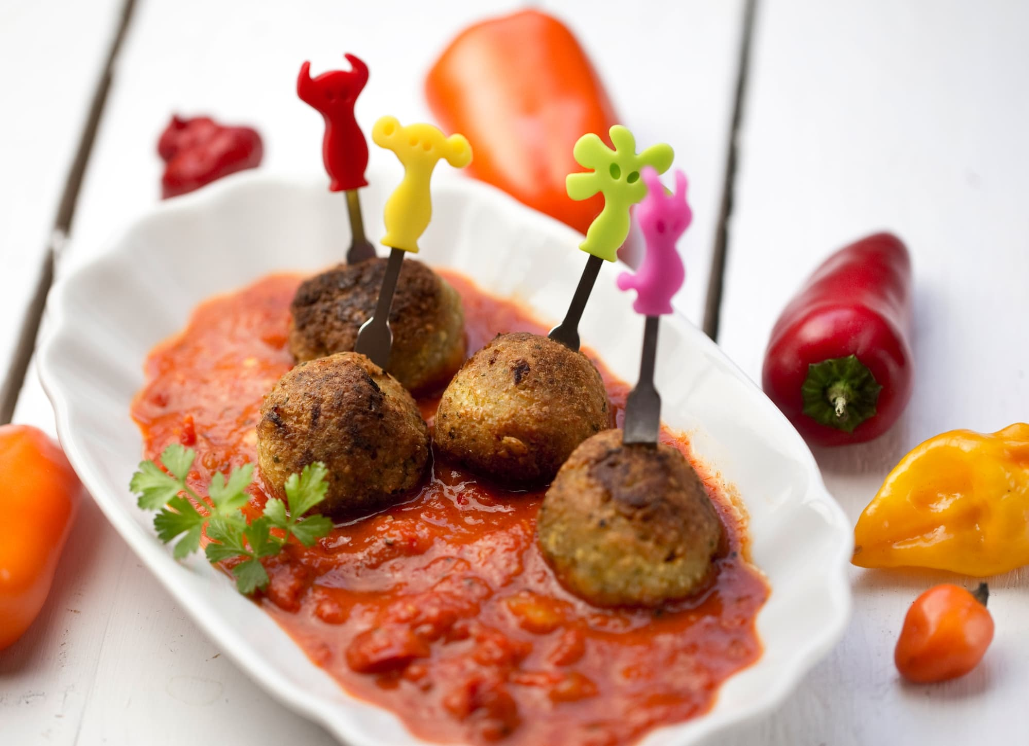 Couscous Falafel In Red Pepper Sauce