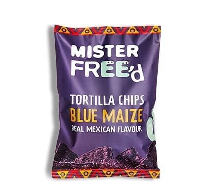 "Mister Free'd TORTILLA CHIPS ""El Azul"" with blue Hopi maize, 135g"