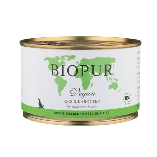 BIOPUR dog food with rice and carrots, organic, 400g