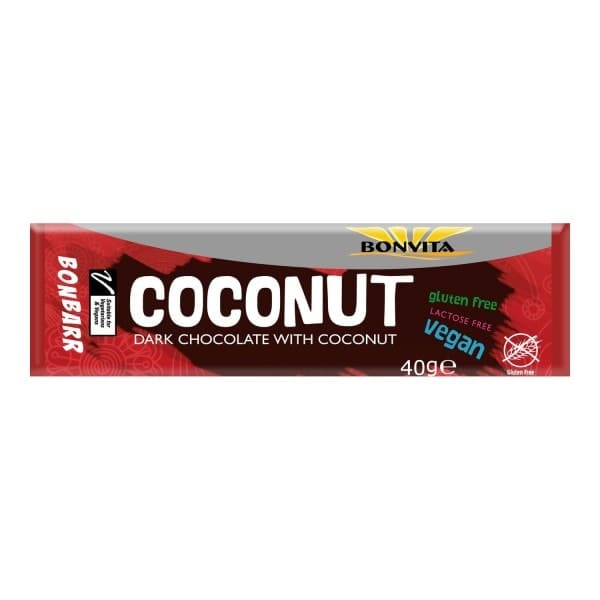 Bonvita BONBARR COCONUT dark chocolate with coconut, organic, 40g