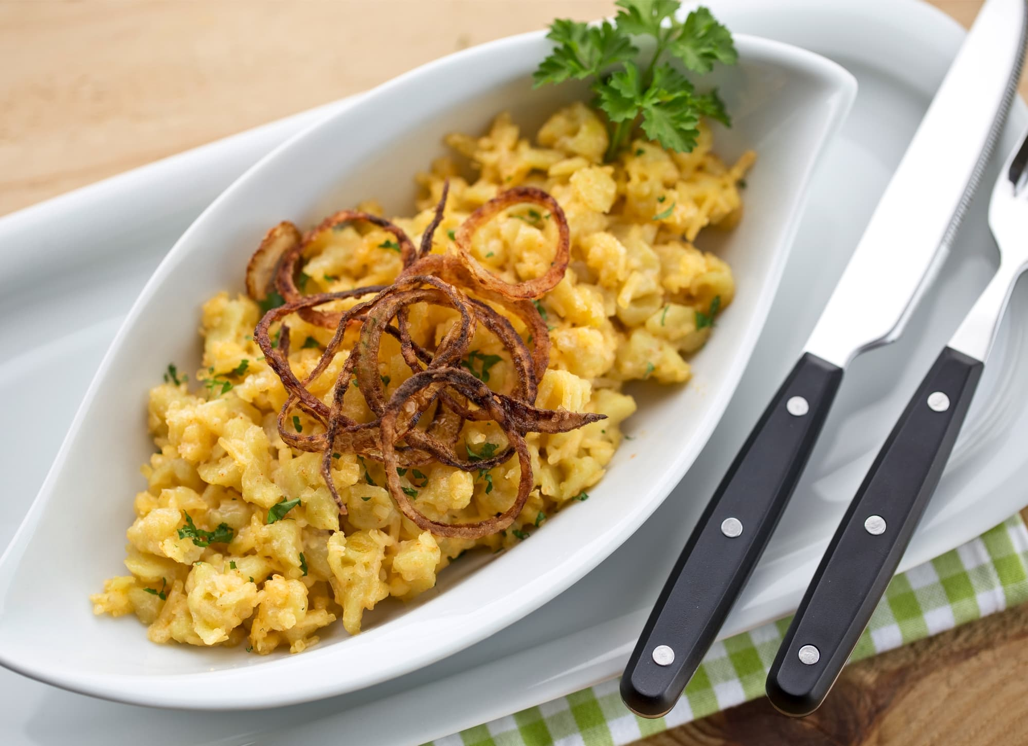 Alternative to Cheese Spaetzle With Fried Onions