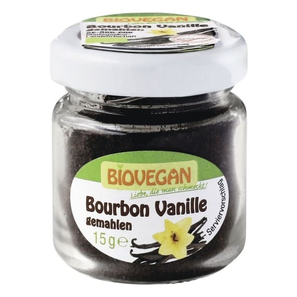 Biovegan Organic BOURBON VANILLA in the glass, ground, 15g