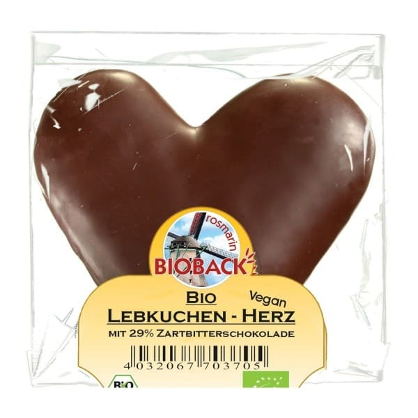 Rosmarin Bioback GINGERBREAD HEART with dark chocolate (29%), organic, 42g