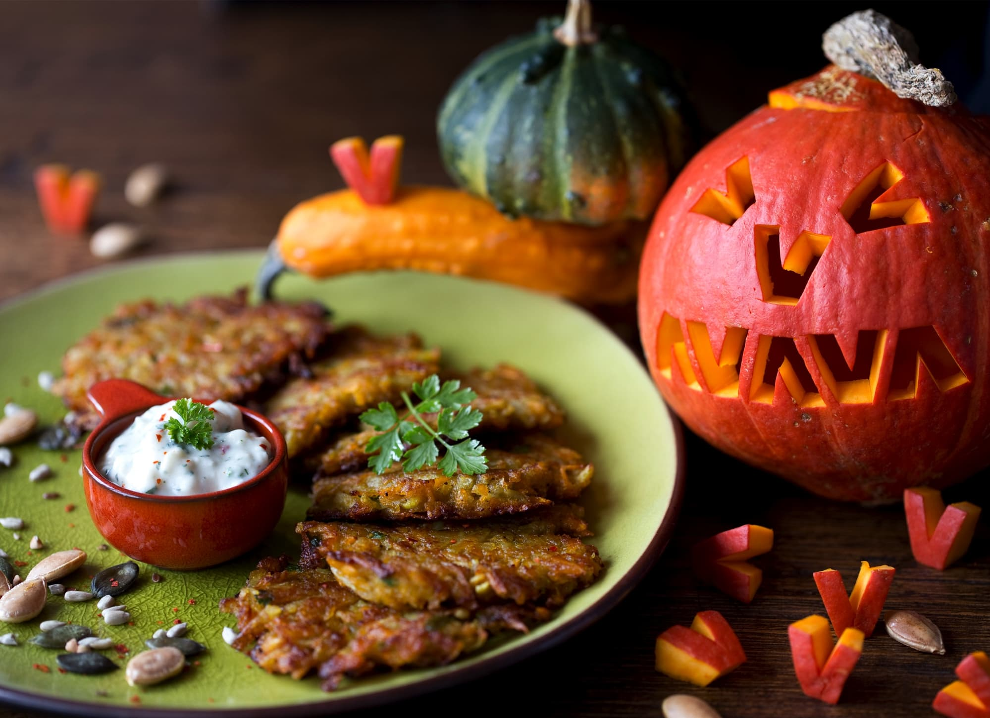 Pumpkin Rostis With Cottage alternative to Cheese Dip
