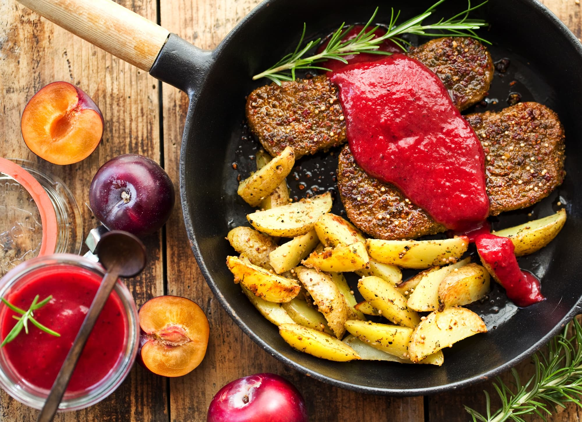MUSTARD-AGAVE COUNTRY POTATOES WITH PLUM KETCHUP