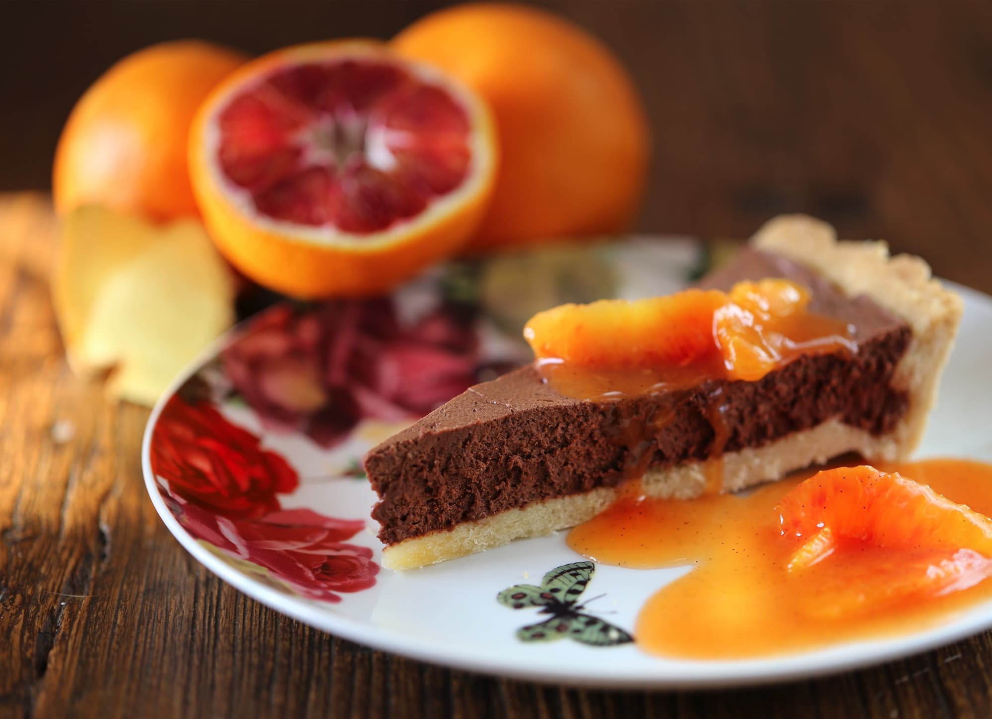 Tarte Chocolate With Blood Oranges