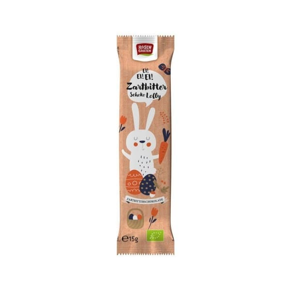 Rosengarten DARK CHOCOLATE LOLLY, organic, 15g