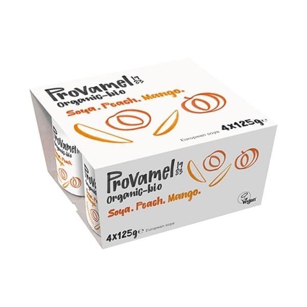 Provamel SOYA YOGHURT ALTERNATIVE peach and mango, organic, 4 x 125g